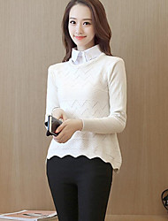 Women's Casual/Daily Cute Regular PulloverSolid Blue / Pink / White / Gray Shirt Collar Long Sleeve