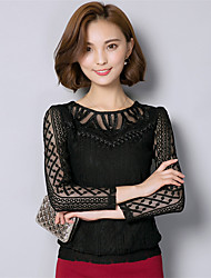 Spring/Fall Women's Plus Size Going out/Casual Blouse Solid Color Round Neck Long Sleeve Lace Tops Black Yellow