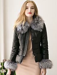 Women's Street chic Fur Coat Solid Round Neck Long Sleeve Winter Black Faux Fur / PU Thick