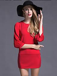 Moulante Robe Femme Sortie simple,Couleur Pleine Col Arrondi Mini Manches ¾ Bleu / Rouge Polyester Automne Taille Normale Non Elastique