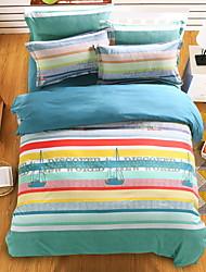 bedtoppings couette couverture couette couette 4pcs définir la taille de reine plat drap taie imprime bande de voile microfibre
