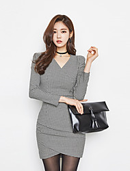 Women's Work Sexy Sheath DressSolid V Neck Above Knee Long Sleeve Black