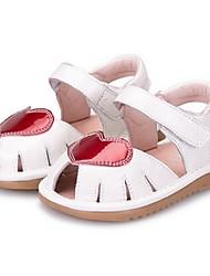 Mädchen-Sandalen-Lässig-Mikrofaser-Flacher Absatz-Sandalen-Schwarz / Weiß