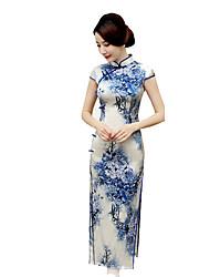 Gonna Lolita Classica e Tradizionale Cosplay Vestiti Lolita Blu Vintage Maniche corte Lungo Per Seta