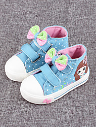 Girl's Sneakers Spring Fall Comfort Canvas Outdoor Flat Heel Bowknot Blue Pink White Walking