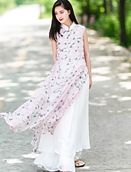 Ramie Cotton Women's Going out Chinoiserie Loose DressFloral Stand Maxi Sleeveless Pink Linen / Polyester