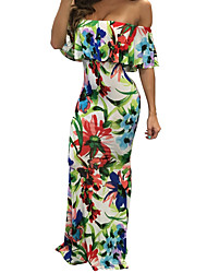 Women's Beach Sexy / Boho Floral Print Boat Neck Ruffle Side Bodycon Maxi Sleeveless Dress