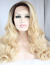 Hair Wig Premium Blonde Ombre Wig Dark Root Long Natural Body Wave Wigs Synthetic Lace Front Wigs