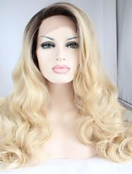 Donna Parrucche sintetiche Lace frontale Lungo Ondulato naturale Biondo Radici scure Attaccatura dei capelli naturale Capelli schiariti