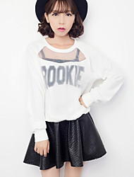 Women's Casual/Daily Simple Fall Set SkirtPatchwork Round Neck Long Sleeve White / Black Polyester Thin