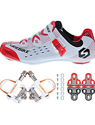 03 Cycling Shoes Unisex Outdoor / Road Bike Sneakers Damping / Cushioning Red / White-sidebike And White Rock Pedals