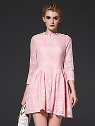 bainha simples formais das mulheres frmz dresssolid estar acima joelheira rosa de algodão / nylon