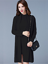 Women's Casual/Daily / Formal Vintage / Simple Shift DressSolid Round Neck Knee-length Plus Size Set