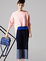 room404 Frauenfarbblock Blue Jeans / gerade pantssimple