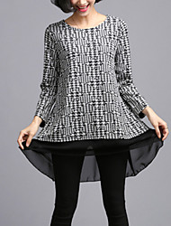 Women's Casual/Daily Plus Size Plus Size Dress,Patchwork Round Neck Above Knee Long Sleeve White / Black Spandex Fall