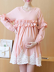 Maternity Casual/Daily Simple Loose Dress,Solid Round Neck Above Knee ¾ Sleeve Pink Polyester Summer