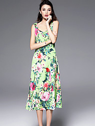 Burdully  Women's Holiday Chinoiserie Sheath DressFloral Square Neck Knee-length Sleeveless Green Polyester Summer