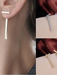 Women Fashion Gold Plated Earrings Simple T Bar Alloy Earring Women Girl Ear Stud Earrings 1 pair