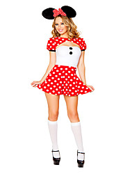 Costumes Movie & TV Theme Costumes Halloween Red / White Print Terylene Dress / More Accessories