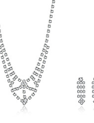 2016 Noble Luxury Rhombus Wedding Bridal Silver Zircon Necklace Earrings Party Jewelry Set