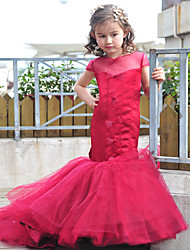 Trumpet / Mermaid Court Train Flower Girl Dress - Tulle / Charmeuse Short Sleeve Jewel with Bow(s) / Buttons