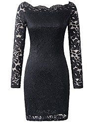 Fall Women Dresses Solid Color Boat Neck Long Sleeve Sexy Women Clothing Lace Dresses Ladies Party/Cocktail Club Dress