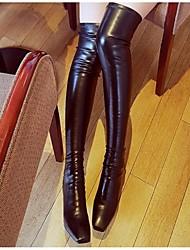 Damen-Stiefel-Outddor-Leder-Keilabsatz-Modische Stiefel-Schwarz