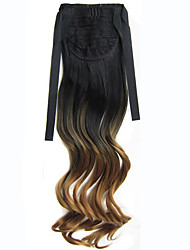 22'' (55CM) Women Long Wave Curly Synthetic Hair Ponytail Ombre Ribbon Pony Tail Hair Extensions Hair Piece 1BT27