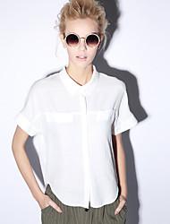 neue vor der Arbeit einfach Sommer kurz Hemdkragen Ärmel pink / weiß Polyester undurchsichtigen shirtsolid Frauen