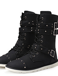 Men's Boots Winter Combat Boots / Round Toe  Casual Flat Heel Lace-up Black Others