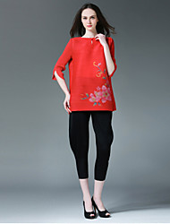 Liebe Falten Frauenblumen pink / schwarzes T-Shirt, Rundhalsausschnitt ½ Länge Ärmel