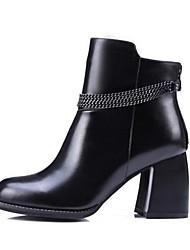 Damen-Stiefel-Outddor-Leder-Blockabsatz-Modische Stiefel-Schwarz