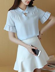 Damen Solide Street Schick Ausgehen T-shirt,Rundhalsausschnitt Kurzarm Blau / Rosa / Weiß Polyester Dünn