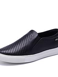 Черный Белый Серебристый-Женский-Для прогулок Для офиса Повседневный-Кожа-На плоской подошве-Удобная обувь-Мокасины и Свитер
