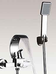 Wall Mounted Chromed Contempo Bathroom Waterfall Faucet with Hand shower