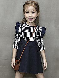 Girl's Casual/Daily Striped Jeans / Clothing SetCotton Spring / Fall Blue
