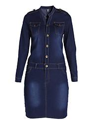 Women's Bodycon/Casual Micro-elastic Long Sleeve Knee-length Dress (Denim)
