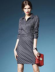 Women's Simple Shirt DressStriped Shirt Collar Above Knee Long Sleeve Black / Gray Linen Fall Mid Rise Inelastic Medium