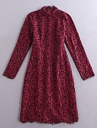 Boutique S Women's Formal Vintage DressSolid Turtleneck Knee-length Long Sleeve Red
