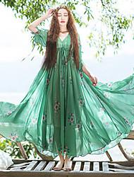 Ample Robe Femme Décontracté / Quotidien Chinoiserie,Fleur Col en V Mi-long Manches ¾ Vert Autres Eté Taille Normale Non Elastique Fin