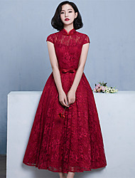 Bridesmaid Dress Tea-length Lace / Satin Elegant - Ball Gown High Neck with Bow(s) / Sash / Ribbon