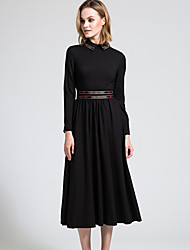 BORME Women's Shirt Collar Long Sleeve Maxi Dress-Y032