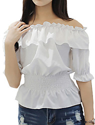 Women's Going out Sexy Summer Blouse,Solid Boat Neck Short Sleeve Blue / Pink / White Polyester Thin