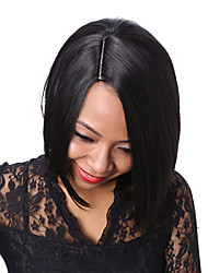 Rihanna Style Natural Looking Black Short Straight Hair Bob Wig African American Synthetic Wigs