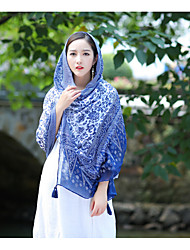 Women Cotton ScarfCasual RectangleBluePrint