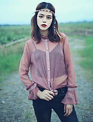 Aporia.As® Femme Mao Manche Longues Shirt et Chemisier Marron-MZ08042