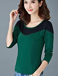 Damen Einfarbig Einfach Lässig/Alltäglich T-shirt,Rundhalsausschnitt Herbst Langarm Grün / Lila Baumwolle Undurchsichtig