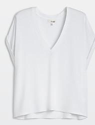 Damen Solide Einfach Lässig/Alltäglich T-shirt,V-Ausschnitt Sommer Kurzarm Weiß Baumwolle Undurchsichtig / Dünn