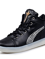 Women's Boots Spring Summer Fall Winter Light Up Shoes Comfort Leather Casual Flat Heel LED Black White
