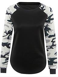 Damen Einfarbig Retro / Einfach Ausgehen / Lässig/Alltäglich T-shirt,Rundhalsausschnitt Frühling / Herbst Langarm Schwarz Polyester Mittel